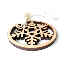 Load image into Gallery viewer, Small Snowflake Wood Ornament