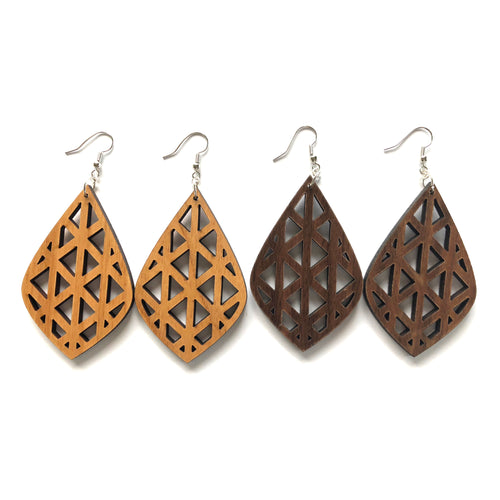 Teardrop Cutout Wood Earrings
