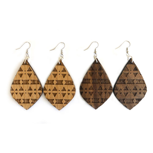 Teardrop Engraved Wood Earrings