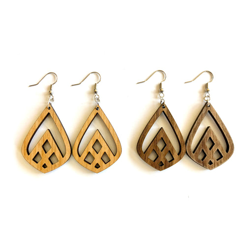 Teardrop Mountain Cutout Wood Earrings
