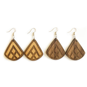 Teardrop Mountain Engraved Wood Earrings