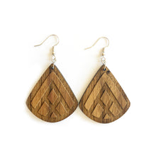Load image into Gallery viewer, Teardrop Mountain Engraved Wood Earrings