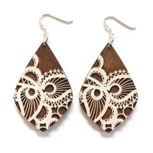Load image into Gallery viewer, Lace Petal Wood Earrings