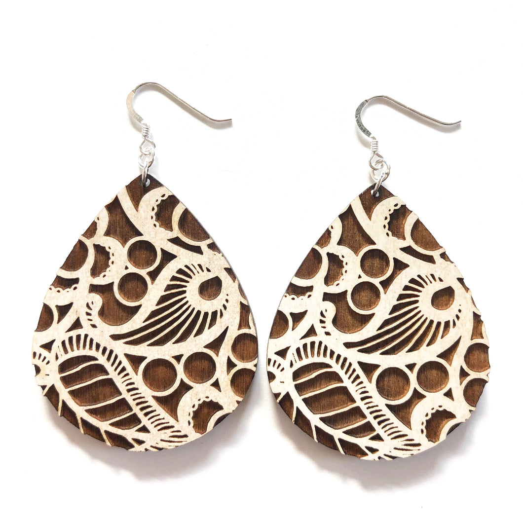 Lace Raindrop Wood Earrings in White