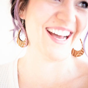 Zebra Lobe Wood Earrings