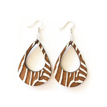 Load image into Gallery viewer, Zebra Lobe Wood Earrings