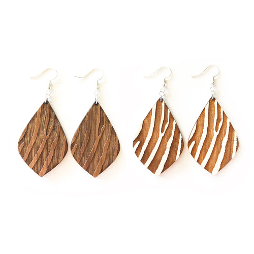Zebra Petal Wood Earrings