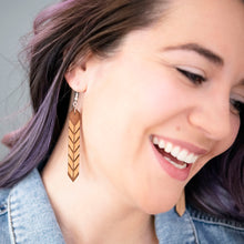 Load image into Gallery viewer, Chevron Crystal Wood Earrings