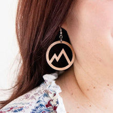 Load image into Gallery viewer, Circle Mountain Cutout Wood Earrings