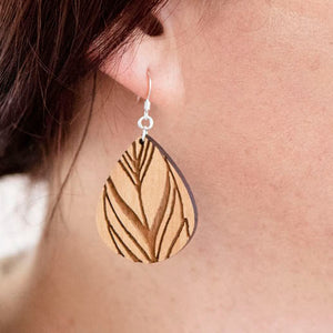 Feather Engraved Wood Earrings