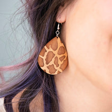 Load image into Gallery viewer, Giraffe Teardrop Wood Earrings
