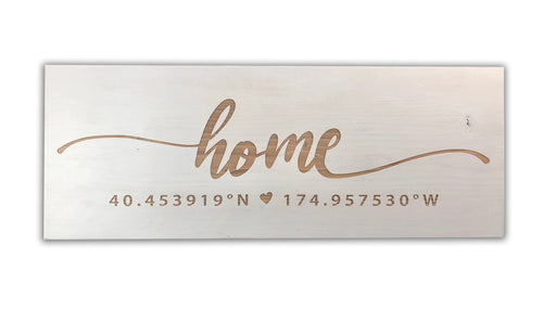 Home Coordinates - Custom Wood Sign