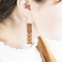 Load image into Gallery viewer, Rectangle with Chevron Engraved Wood Earrings