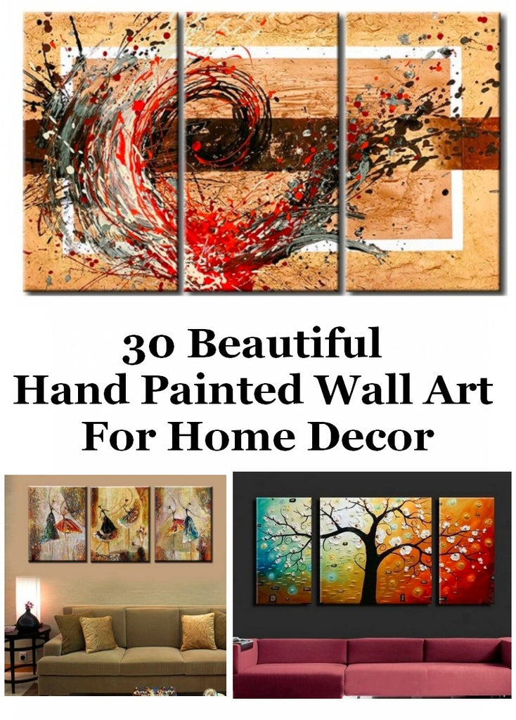30 Beautiful Hand Painted Wall Art for Home Decoration, Living Room Painting, 3 Piece Paintings, Acrylic Abtract Art for Sale