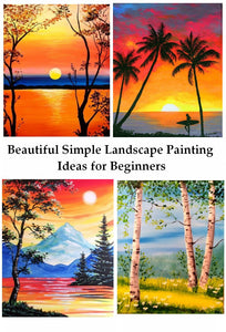 Beautiful Easy Landscape Painting Ideas for Beginners, Sunrise Painting Ideas, Mountain Landscape Painting Ideas