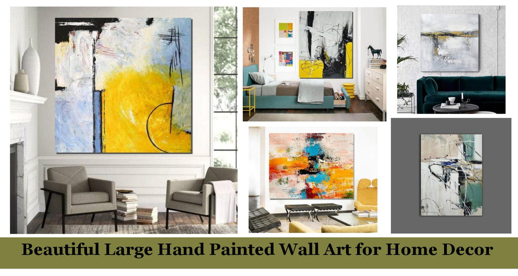 Beautiful Hand Painted Wall Art Ideas for Living Room, Easy Abstract Acrylic Painting Ideas