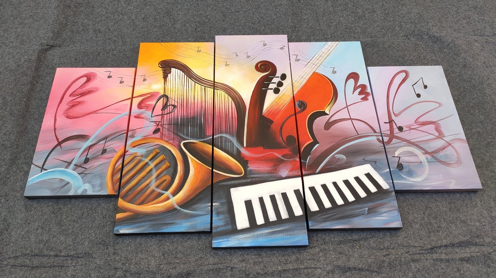 Painting Samples of Violin Musical Instruction Canvas Painting, Electronic Organ Painting, Buy Paintings Online