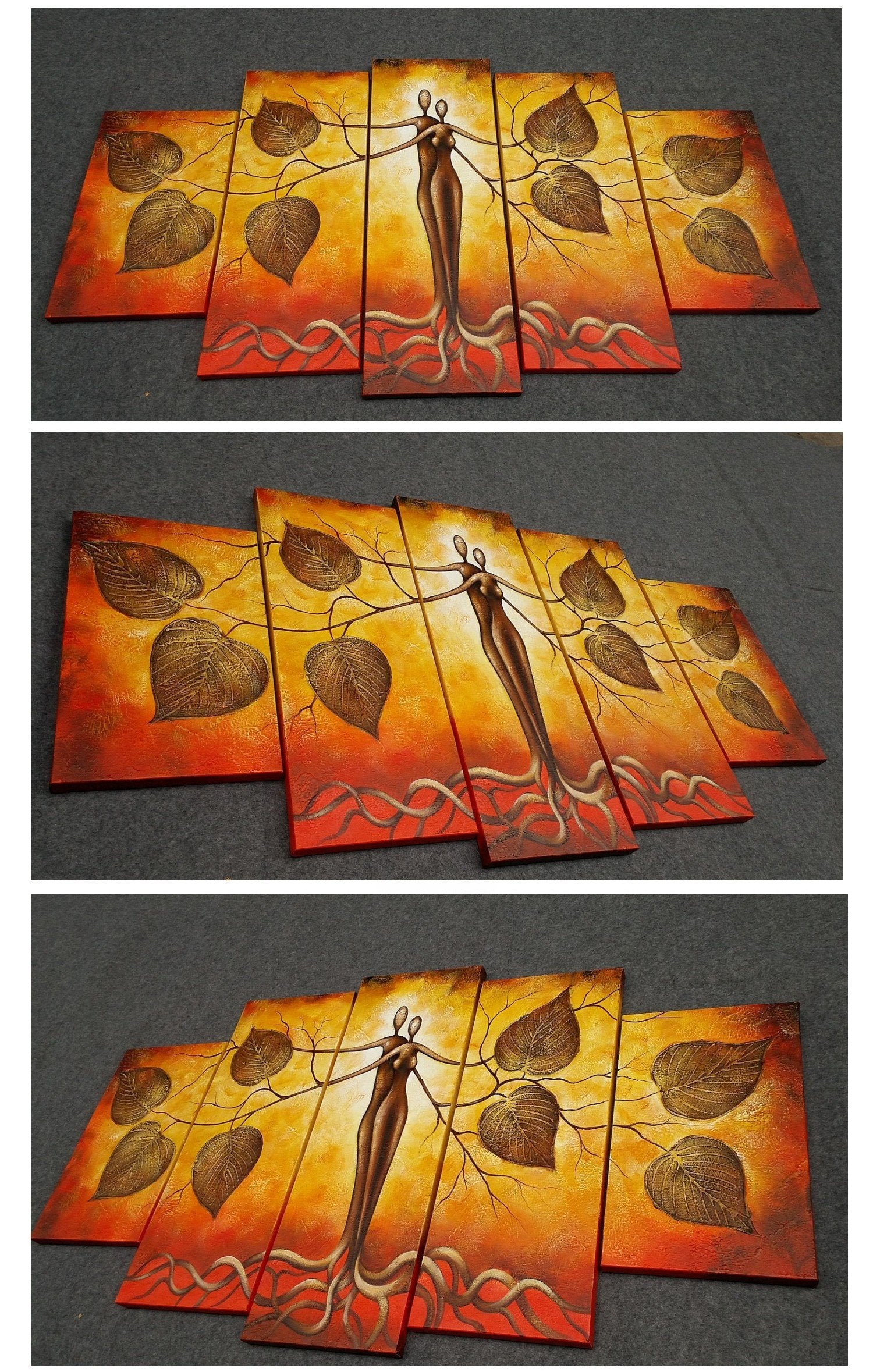 5 Piece Canvas Painting for Sale, Tree of Life Painting, Abstract Painting