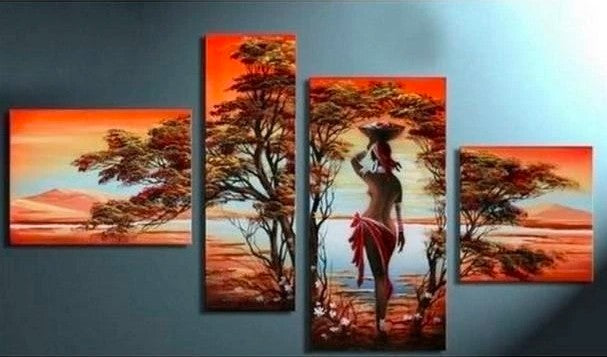 African Woman Painting, African Art, Extra Large Painting, Abstract Acrylic Painting