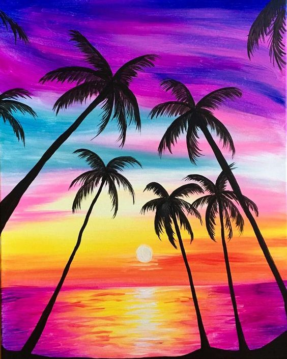 30 Easy Tree Painting Ideas for Beginners, Sunset Painting, Easy Landscape Painting Ideas, Simple Acrylic Paintings