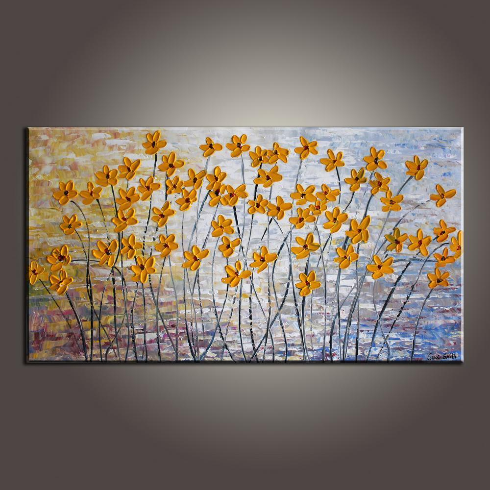 Easy Texture Painting, Daisy Flower Painting, Acrylic Flower Paintings, Beautiful Simple Paintings