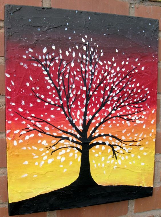 30 Easy Tree Painting Ideas for Beginners, Easy Landscape Painting Ideas, Simple Acrylic Abstract Paintings