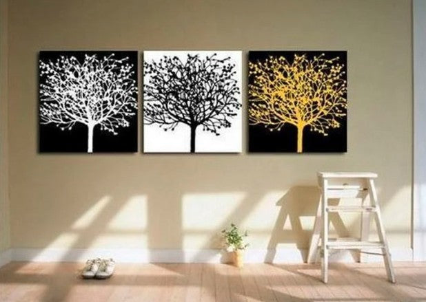 Tree Paintings, Canvas Tree Painting, Acrylic Tree Painting, Wall Art Paintings, Black and White Tree Paintings, Bedroom Wall Art, Colorful Tree Paintings