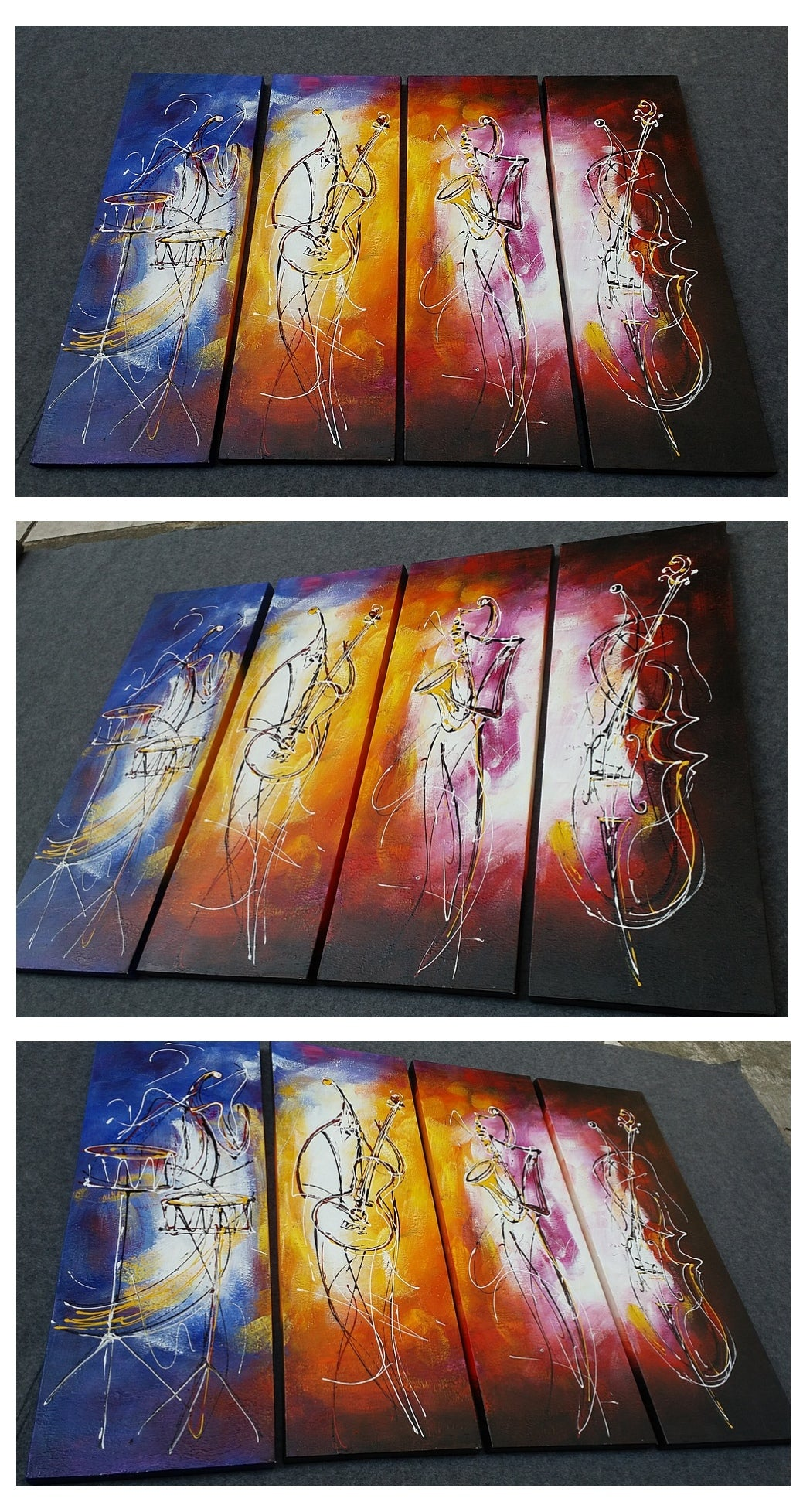 4 Piece Wall Art, Music Player Painting, Extra Large Canvas Painting, Acrylic Artwork