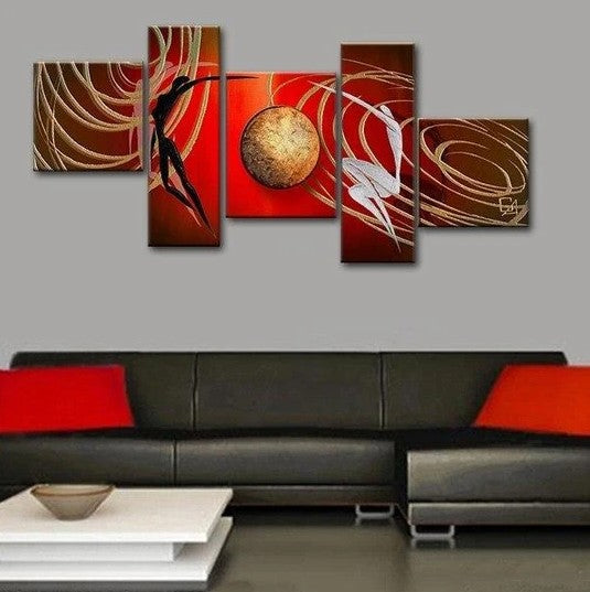 5 Piece Abstract Artwork, Dancing Figure Canvas Painting, Huge Painting, Painting for Sale
