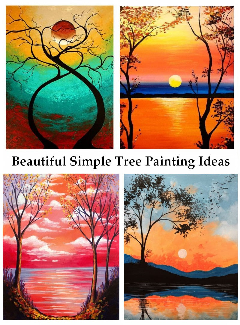 Tree Landscape Painting, Abstract Tree Paintings, Easy Tree Painting Ideas for Beginners Acrylic Tree Painting, Black Tree Painting, White Tree Painting