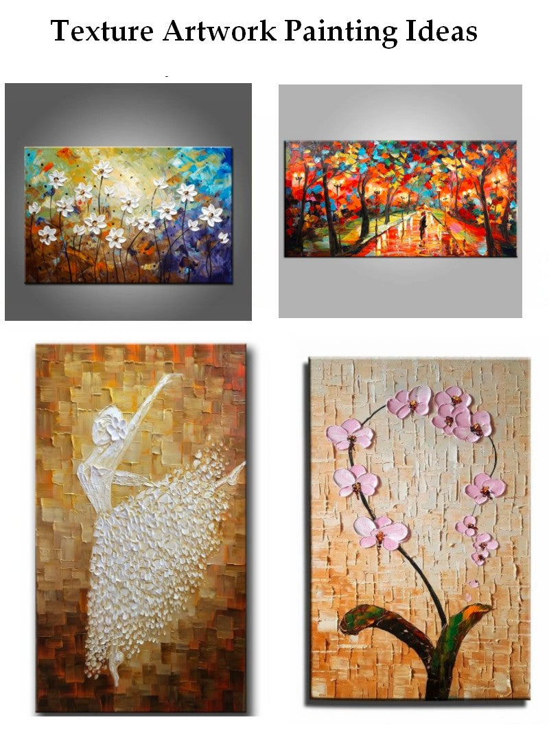 Landscape Texture Wall Art Paintings, Acrylic Texture Paintings, Flower Texture Painting, Beautiful Simple Paintings for Beginners