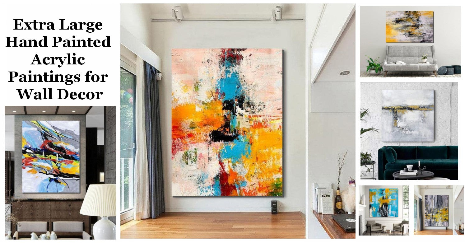Simple Abstract Painting Ideas, Modern Easy Abstract Painting Ideas, Huge Wall Art for Living Room, Canvas Painting for Bedroom, Hand Painted Acrylic Artwork
