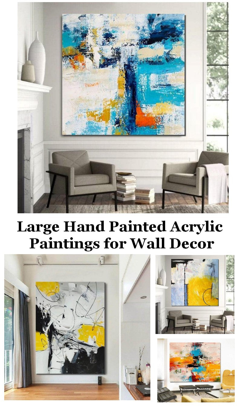 Large Canvas Art Ideas for Living Room, Acrylic Paintings for Bedroom, Hand Painted Canvas Art, Easy Acrylic Painting Ideas, Simple Modern Paintings