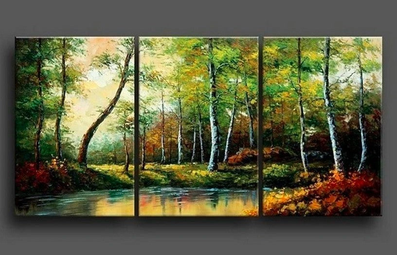Bedroom Canvas Paintings, Bedroom Wall Art Paintings, Bedroom Large Paintings, Landscape Painting, Forest River Painting
