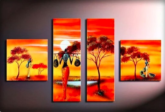 African Women Painting, 72 Inch Wall Art, African Art, Acrylic Painting Landscape