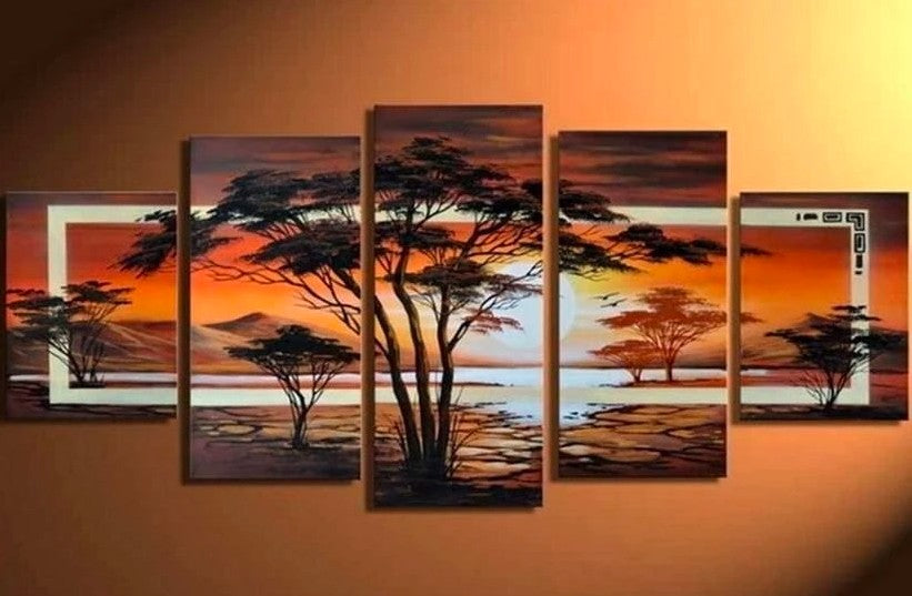 Tree Paintings, Canvas Tree Painting, Acrylic Tree Painting, Wall Art Paintings, Abstract Artwork, Living Room Wall Art, Sunset Tree Paintings