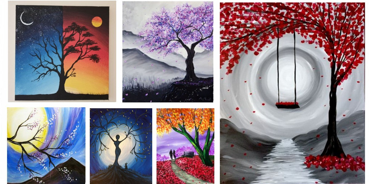 Easy Landscape Painting Ideas, Easy Tree Painting Ideas for Beginners, Simple Canvas Paintings, Simple Acrylic Paintings