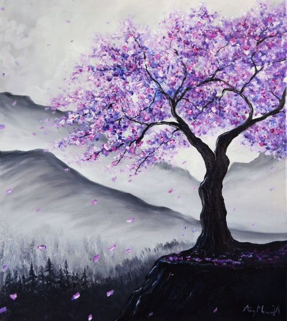 30 Easy Tree Painting Ideas for Beginners, Easy Landscape Painting Ideas, Simple Acrylic Paintings