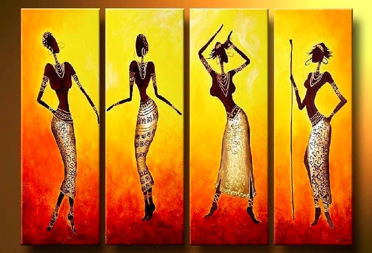 African Women Painting, African Art, Hand Painted Canvas Painting, African Paintings