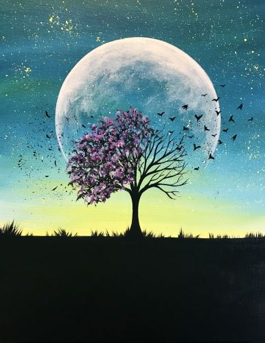 Beautiful Easy Landscape Painting Ideas for Beginners, Sunrise Painting Ideas, Easy Painting Ideas for Kids, Moon and Tree Landscape Painting Ideas, Easy Painting on Canvas