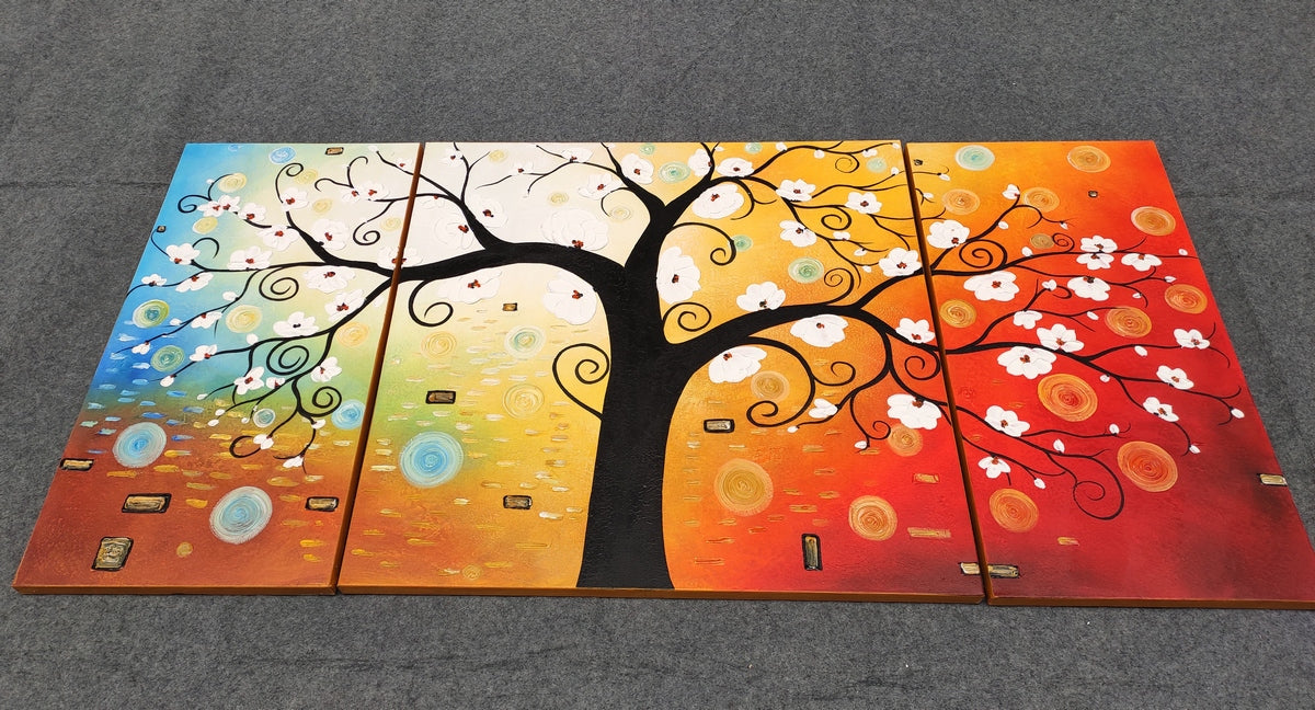 3 Piece Abstract Artwork, Tree of Life Painting, Living Room Canvas Painting, Heavy Texture Painting