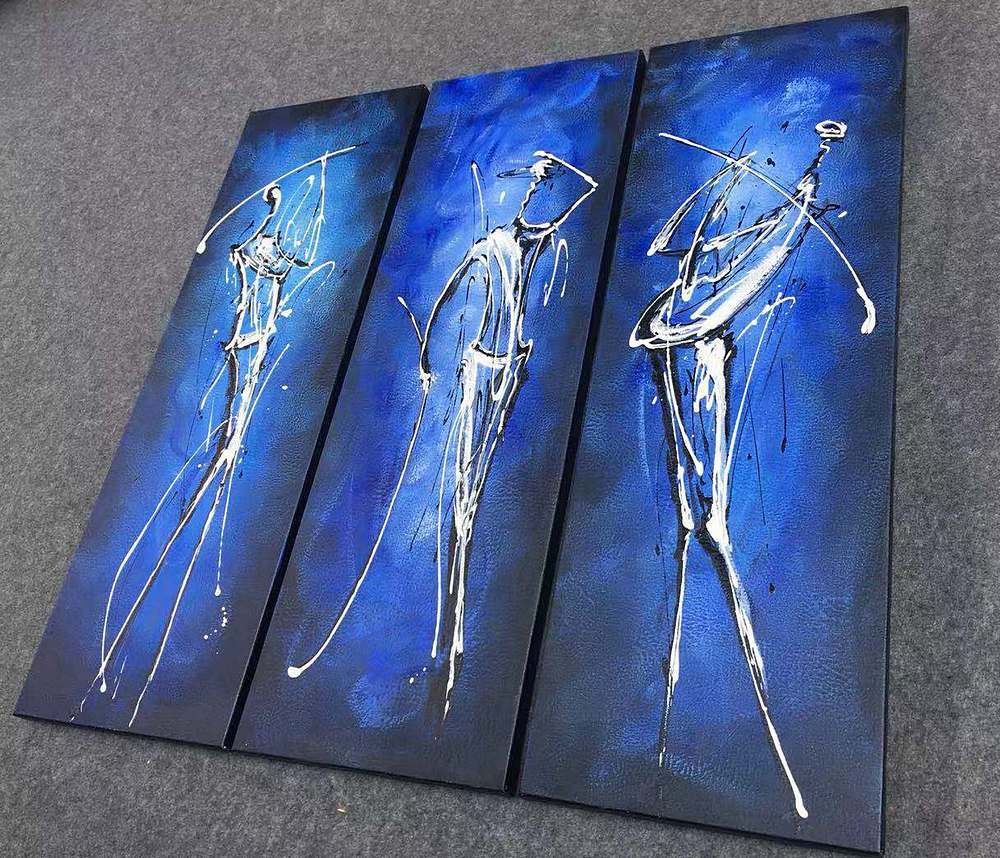 golf players painting, blue canvas painting, buy paintings online
