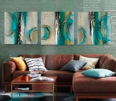 Abstract Art Painting, Large Oil Painting, Canvas Wall Art Sets, 3 Piece Canvas Painting, Large Painting