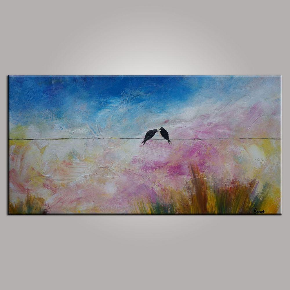 Love Birds Painting, Art for Sale, Abstract Art Painting, Bedroom Wall Art, Canvas Art - HomePaintingDecor.com