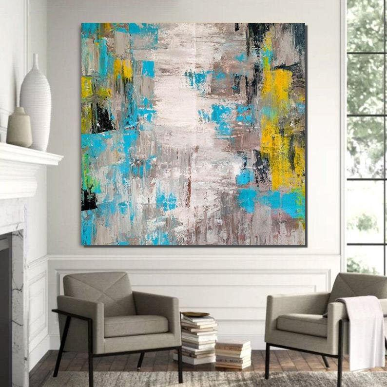 Abstract Wall Painting, Huge Abstract Artwork, Extra Large Paintings for Livingroom, Modern Canvas Painting - HomePaintingDecor.com