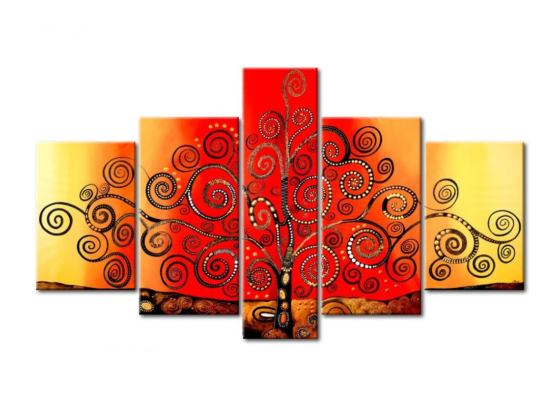 Acrylic Modern Paintings, Tree of Life Painting, 5 Piece Wall Art, Paintings for Living Room, Tree Painting - HomePaintingDecor.com