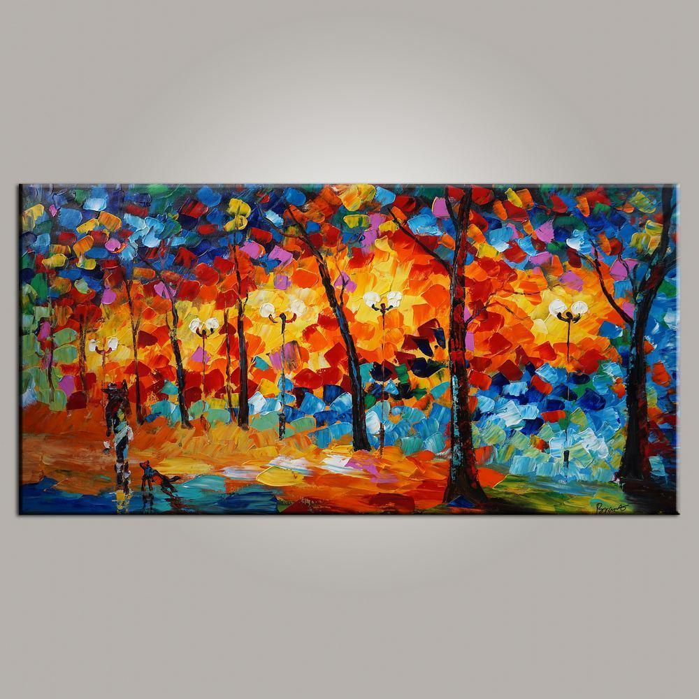 Abstract Art, Painting for Sale, Contemporary Art, Forest Park Painting, Canvas Art, Living Room Wall Art, Modern Art - HomePaintingDecor.com