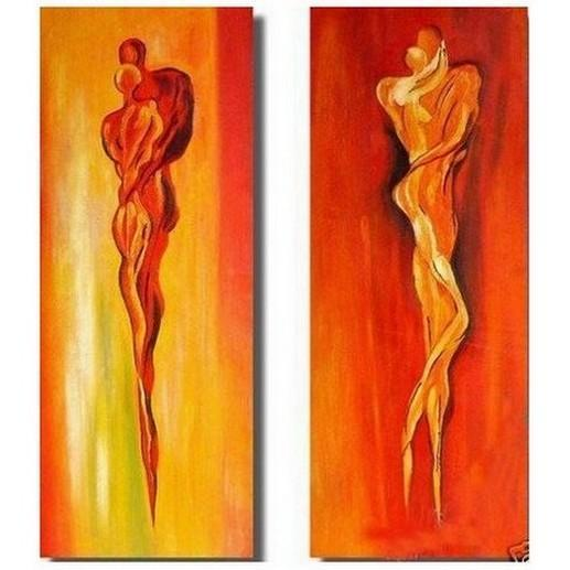 Contemporary Art, Abstract Art of Love, Bedroom Wall Decor, Art on Canvas, Lovers Painting - HomePaintingDecor.com