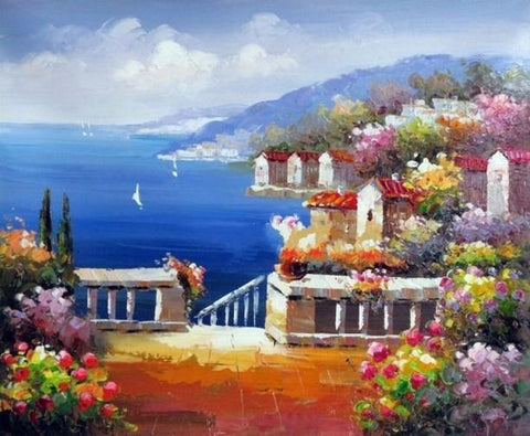Landscape Painting, Wall Art, Canvas Painting, Heavy Texture Painting, Living Room Wall Art, Oil Painting, Wall Painting, Canvas Art, Italian Summer Resort - HomePaintingDecor.com
