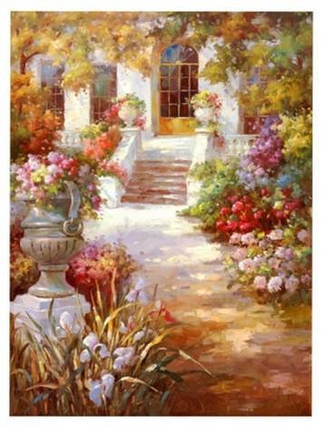 Summer Resort Painting, Canvas Painting, Landscape Oil Painting, Wall Art, Large Painting, Living Room Wall Art, Oil Painting, Canvas Wall Art, Gaden Flower - HomePaintingDecor.com